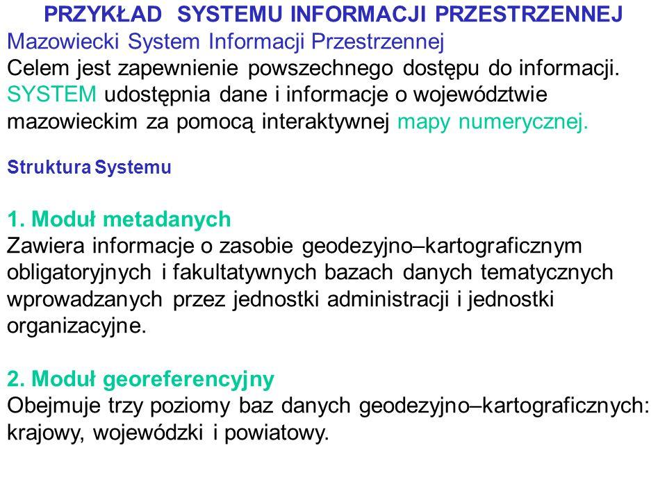 PRZYKŁAD SYSTEMU INFORMACJI PRZESTRZENNEJ Mazowiecki System Informacji Przestrzennej Celem jest zapewnienie powszechnego dostępu do informacji.
