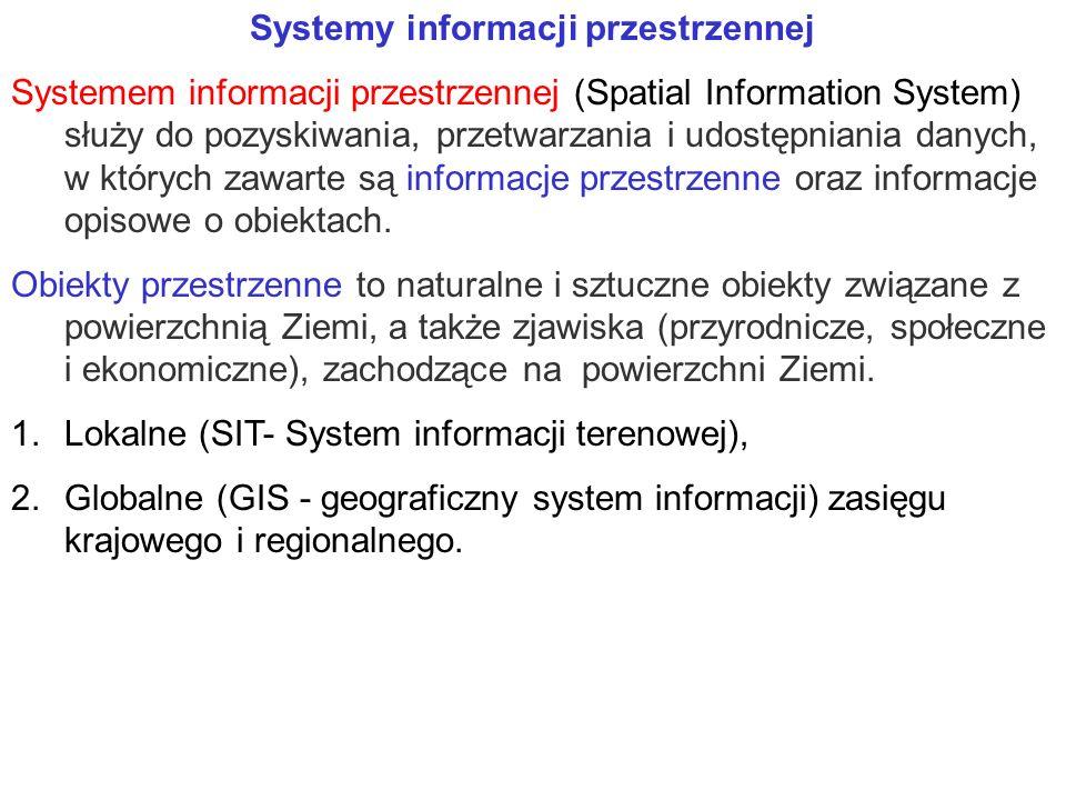Systemy informacji przestrzennej Systemem informacji przestrzennej (Spatial Information System) służy do pozyskiwania, przetwarzania i udostępniania danych, w których zawarte są informacje przestrzenne oraz informacje opisowe o obiektach.