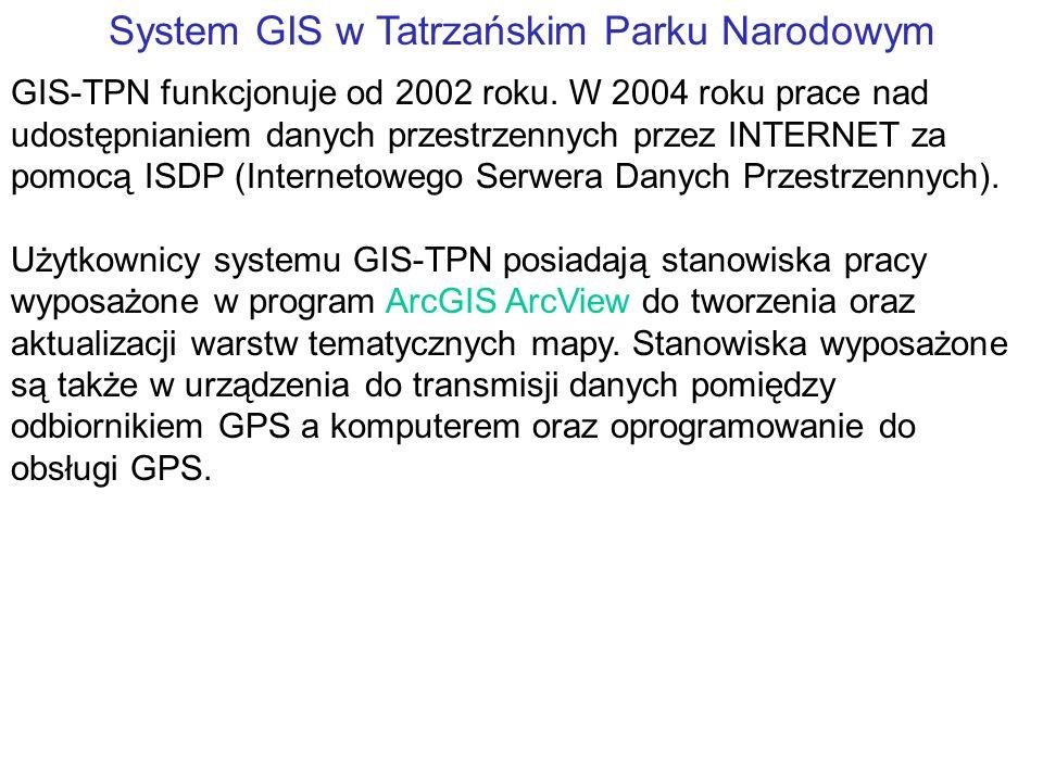 System GIS w Tatrzańskim Parku Narodowym GIS-TPN funkcjonuje od 2002 roku.