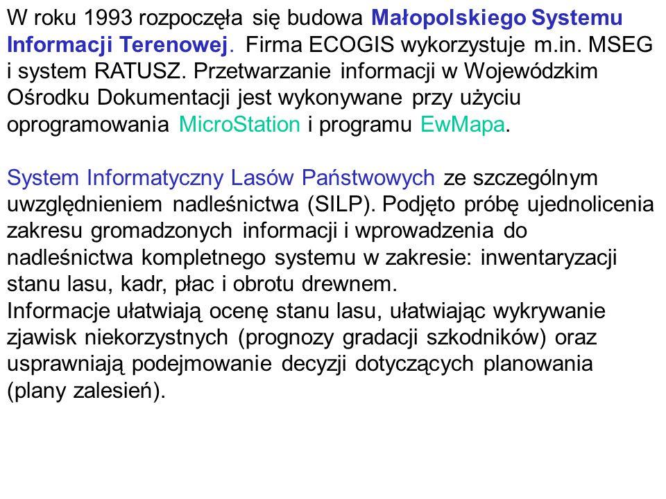 W roku 1993 rozpoczęła się budowa Małopolskiego Systemu Informacji Terenowej.