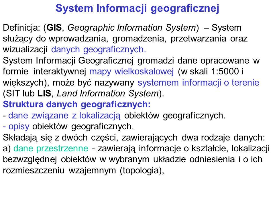 System Informacji geograficznej Definicja: (GIS, Geographic Information System) – System służący do wprowadzania, gromadzenia, przetwarzania oraz wizualizacji danych geograficznych.