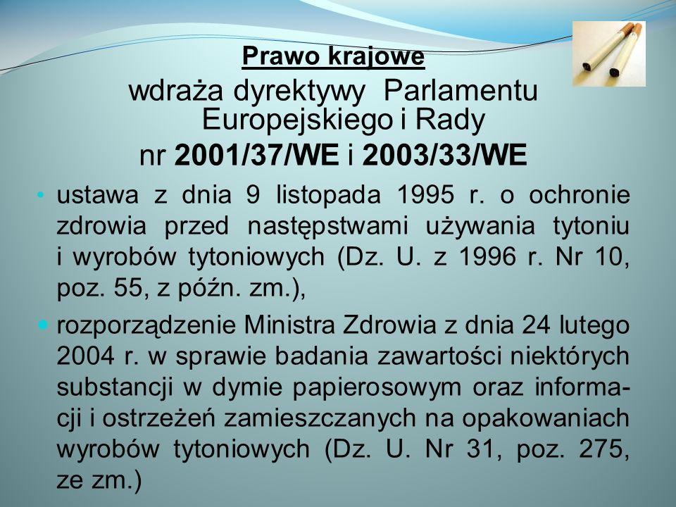 Prawo krajowe wdraża dyrektywy Parlamentu Europejskiego i Rady nr 2001/37/WE i 2003/33/WE ustawa z dnia 9 listopada 1995 r.