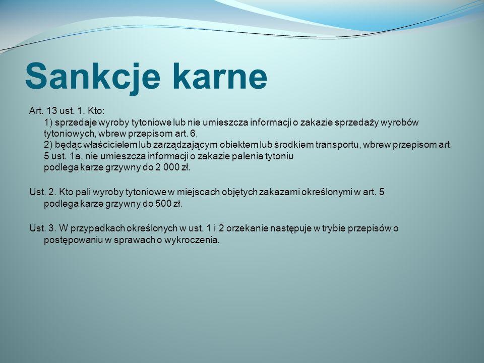 Sankcje karne Art.13 ust. 1.