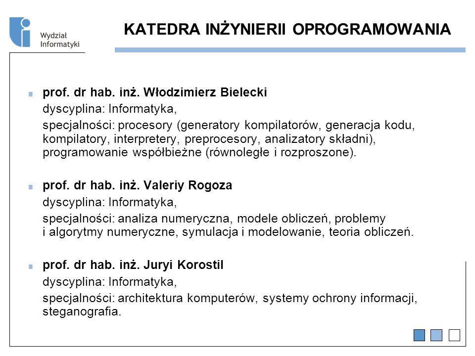 KATEDRA INŻYNIERII OPROGRAMOWANIA prof.dr hab. inż.