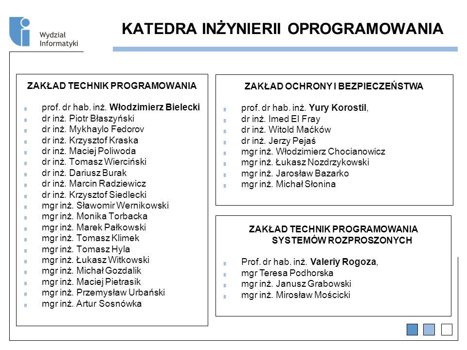 KATEDRA INŻYNIERII OPROGRAMOWANIA ZAKŁAD TECHNIK PROGRAMOWANIA prof.