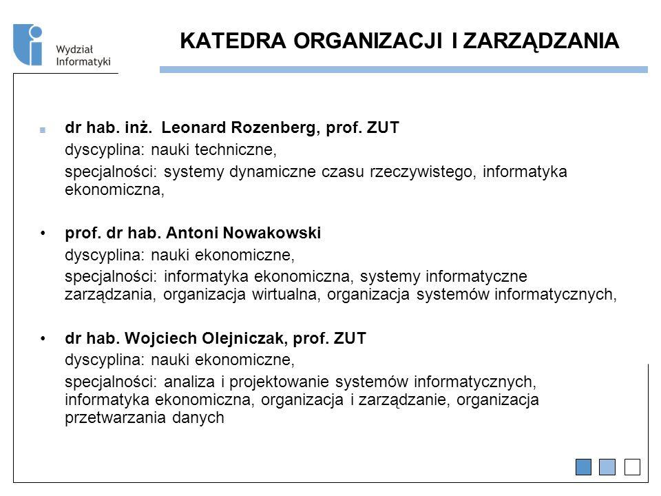 KATEDRA ORGANIZACJI I ZARZĄDZANIA dr hab.inż. Leonard Rozenberg, prof.