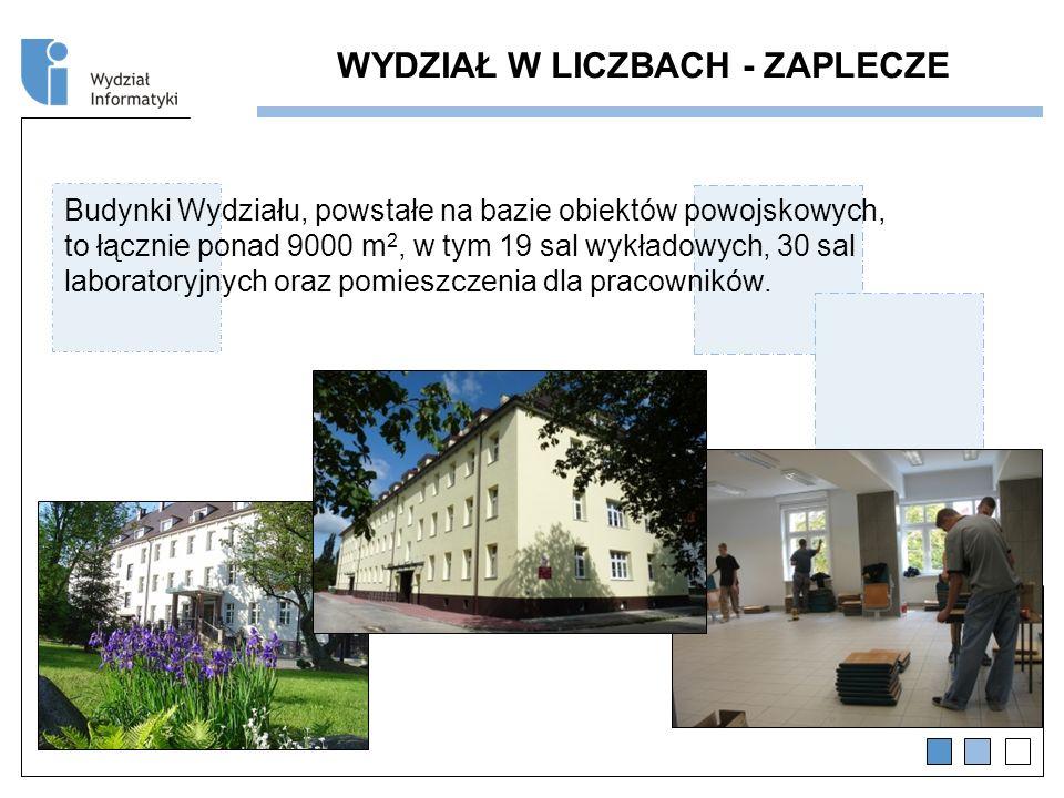 WYDZIAŁ W LICZBACH - ZAPLECZE Budynki Wydziału, powstałe na bazie obiektów powojskowych, to łącznie ponad 9000 m 2, w tym 19 sal wykładowych, 30 sal laboratoryjnych oraz pomieszczenia dla pracowników.