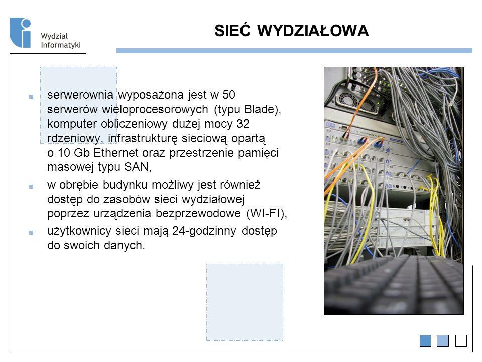SIEĆ WYDZIAŁOWA serwerownia wyposażona jest w 50 serwerów wieloprocesorowych (typu Blade), komputer obliczeniowy dużej mocy 32 rdzeniowy, infrastrukturę sieciową opartą o 10 Gb Ethernet oraz przestrzenie pamięci masowej typu SAN, w obrębie budynku możliwy jest również dostęp do zasobów sieci wydziałowej poprzez urządzenia bezprzewodowe (WI-FI), użytkownicy sieci mają 24-godzinny dostęp do swoich danych.