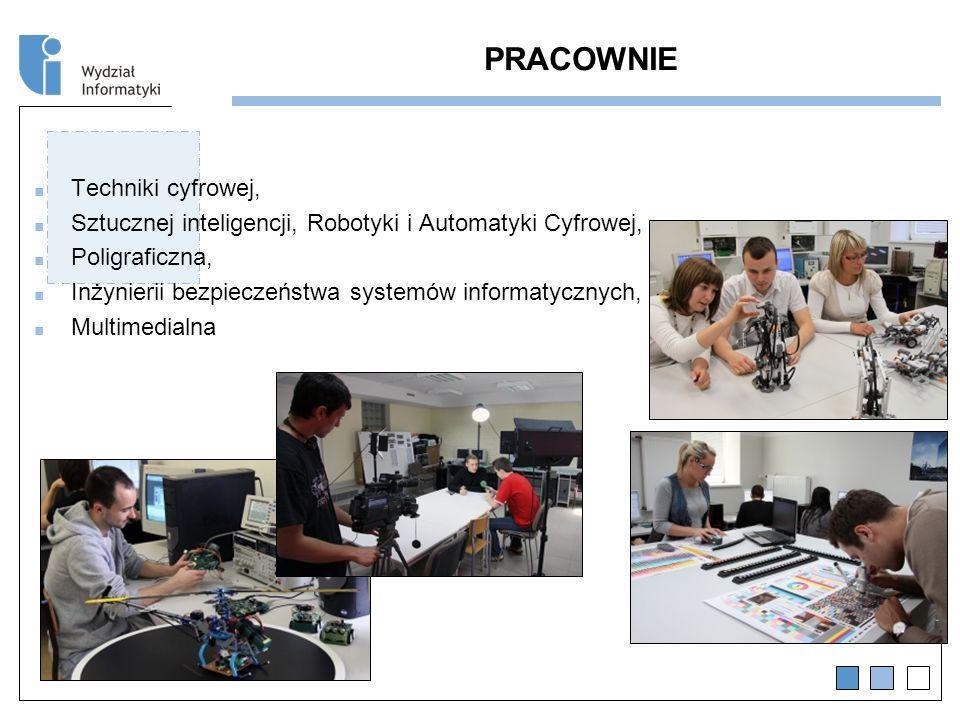 PRACOWNIE Techniki cyfrowej, Sztucznej inteligencji, Robotyki i Automatyki Cyfrowej, Poligraficzna, Inżynierii bezpieczeństwa systemów informatycznych, Multimedialna