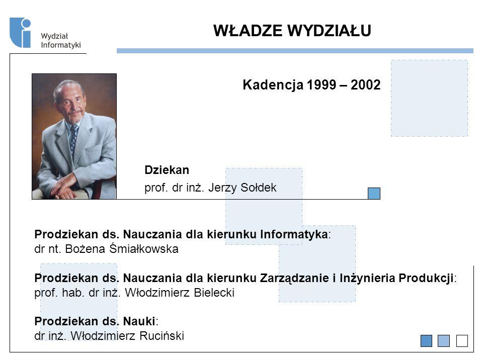 WŁADZE WYDZIAŁU Kadencja 1999 – 2002 Dziekan prof.
