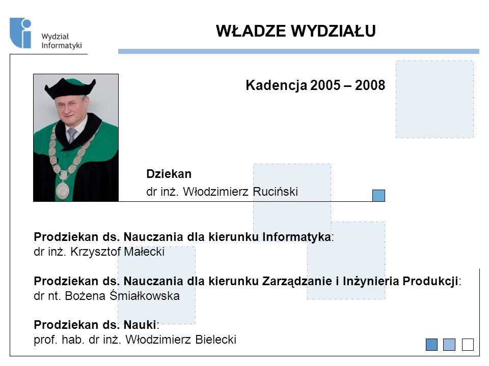 WŁADZE WYDZIAŁU Kadencja 2005 – 2008 Dziekan dr inż.