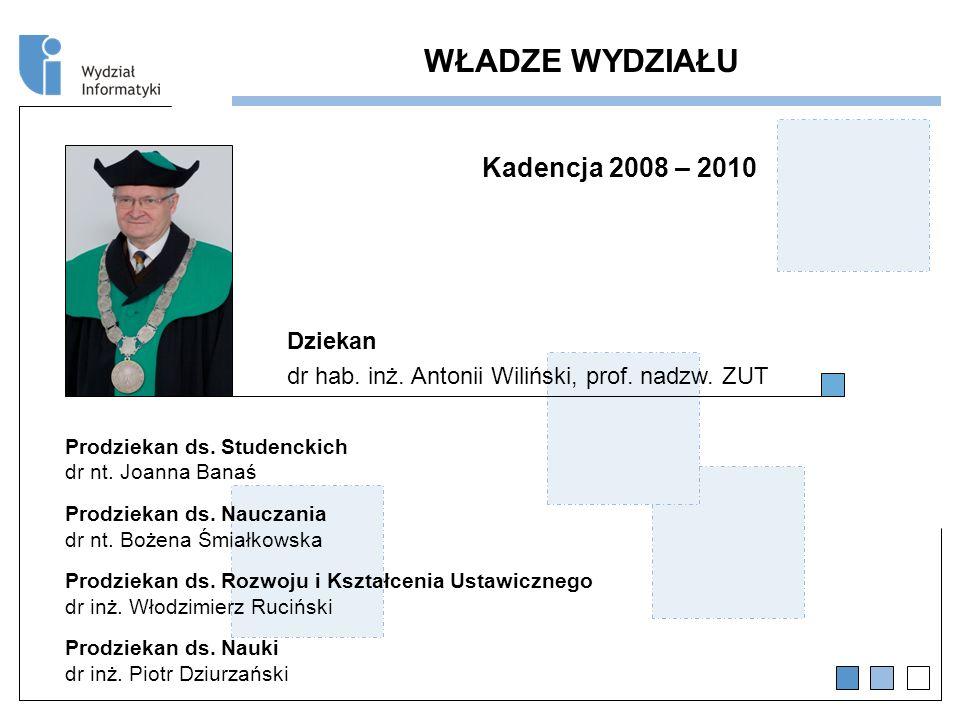 Kadencja 2008 – 2010 Dziekan dr hab.inż. Antonii Wiliński, prof.