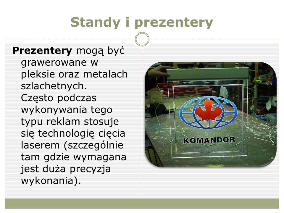 Standy i prezentery Prezentery mogą być grawerowane w pleksie oraz metalach szlachetnych.