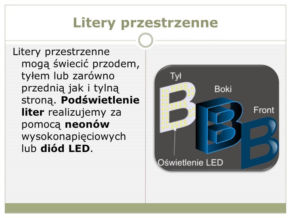 Litery przestrzenne Litery przestrzenne mogą świecić przodem, tyłem lub zarówno przednią jak i tylną stroną.