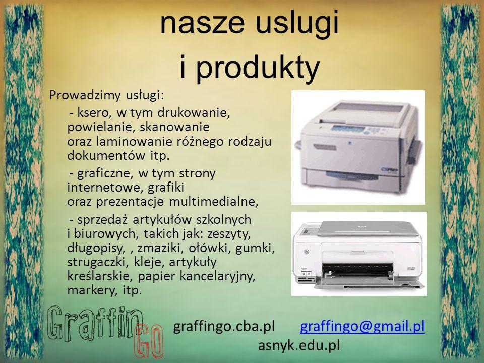 Prowadzimy usługi: - ksero, w tym drukowanie, powielanie, skanowanie oraz laminowanie różnego rodzaju dokumentów itp. - graficzne, w tym strony intern