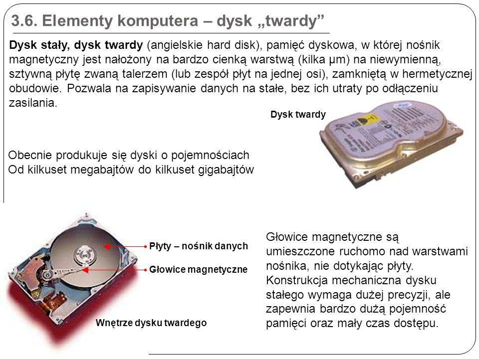 """3.6. Elementy komputera – dysk """"twardy"""" Dysk stały, dysk twardy (angielskie hard disk), pamięć dyskowa, w której nośnik magnetyczny jest nałożony na b"""