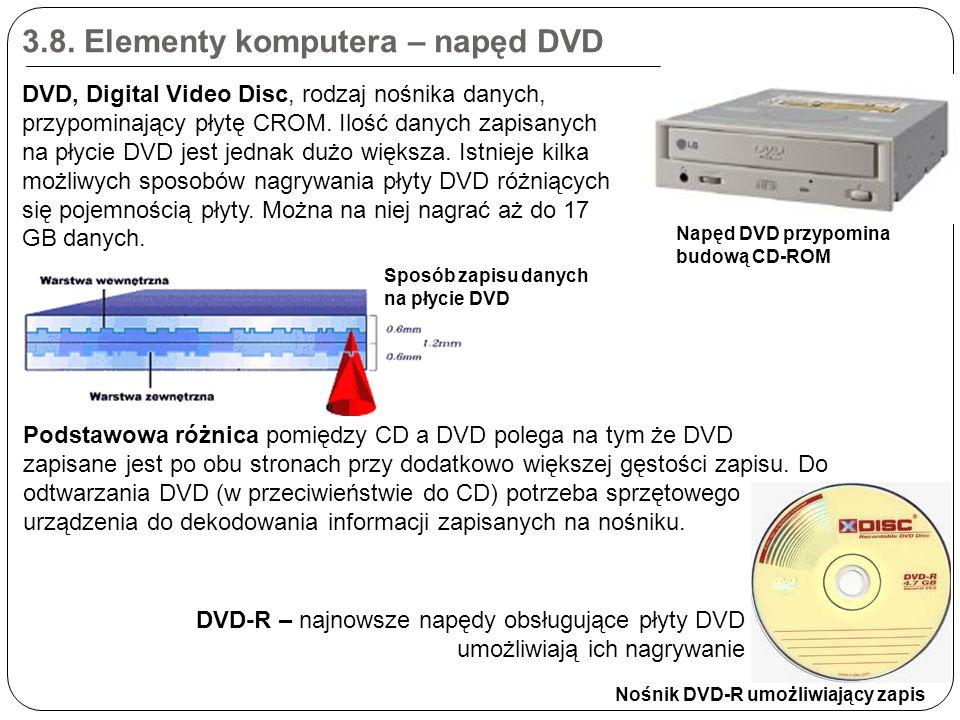 3.8. Elementy komputera – napęd DVD DVD-R – najnowsze napędy obsługujące płyty DVD umożliwiają ich nagrywanie Napęd DVD przypomina budową CD-ROM Nośni