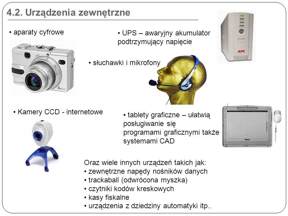4.2. Urządzenia zewnętrzne aparaty cyfrowe Oraz wiele innych urządzeń takich jak: zewnętrzne napędy nośników danych trackaball (odwrócona myszka) czyt