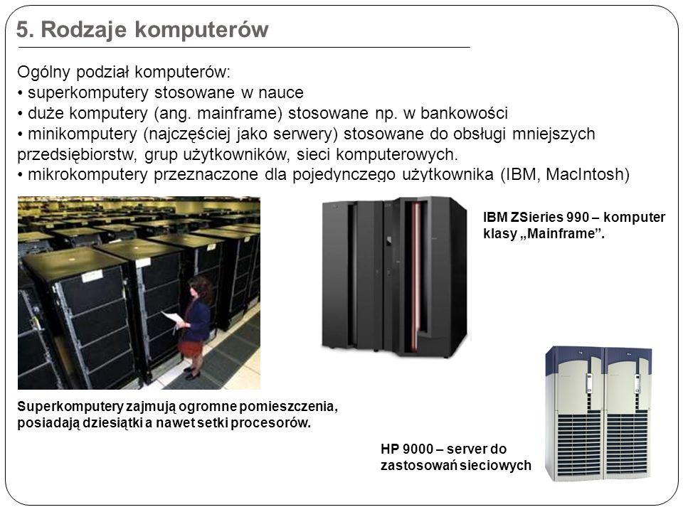 5. Rodzaje komputerów Ogólny podział komputerów: superkomputery stosowane w nauce duże komputery (ang. mainframe) stosowane np. w bankowości minikompu