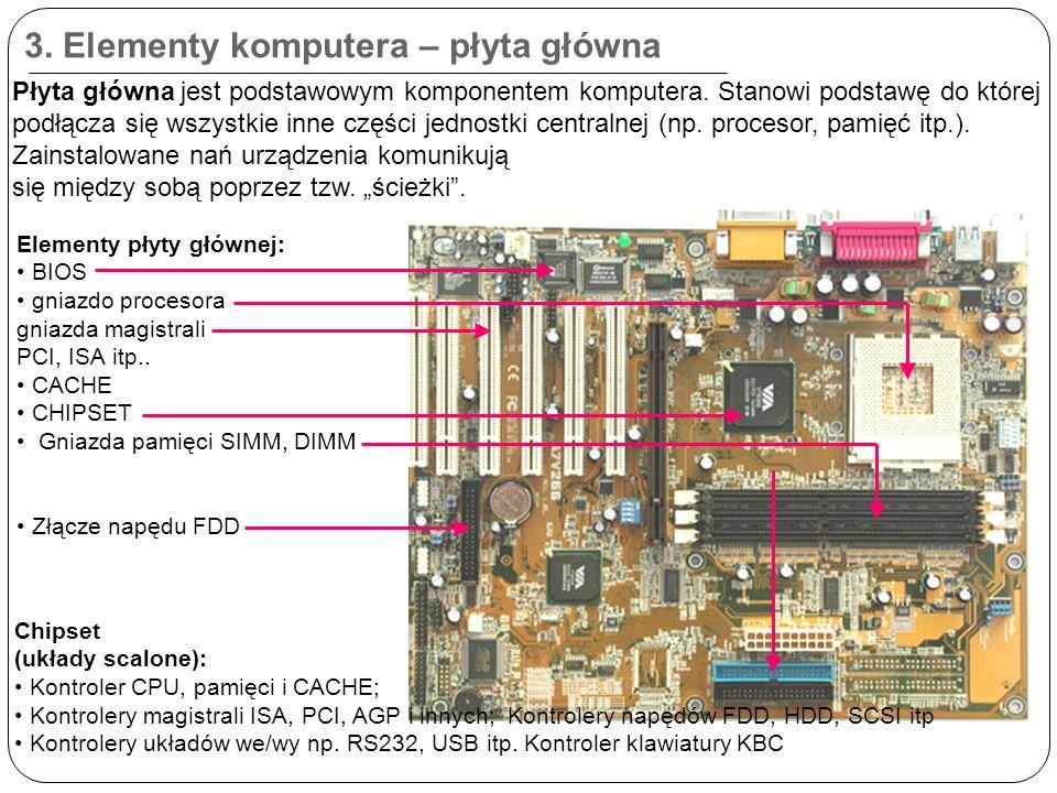 3. Elementy komputera – płyta główna Płyta główna jest podstawowym komponentem komputera.