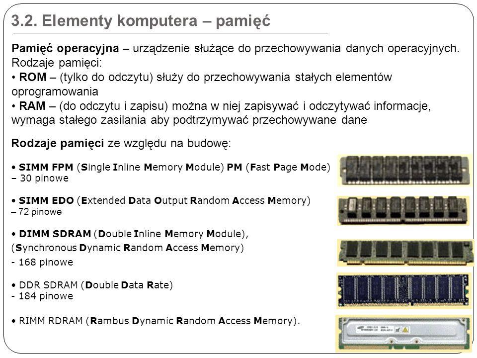 3.2. Elementy komputera – pamięć Rodzaje pamięci ze względu na budowę: SIMM FPM (Single Inline Memory Module) PM (Fast Page Mode) – 30 pinowe SIMM EDO