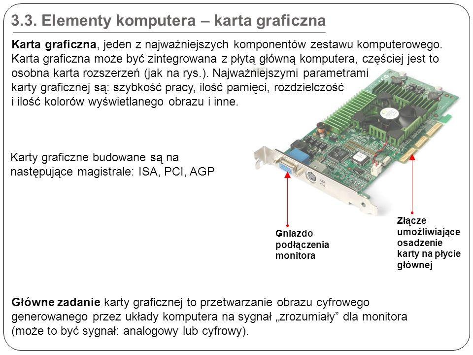 3.3. Elementy komputera – karta graficzna Złącze umożliwiające osadzenie karty na płycie głównej Gniazdo podłączenia monitora Karta graficzna, jeden z