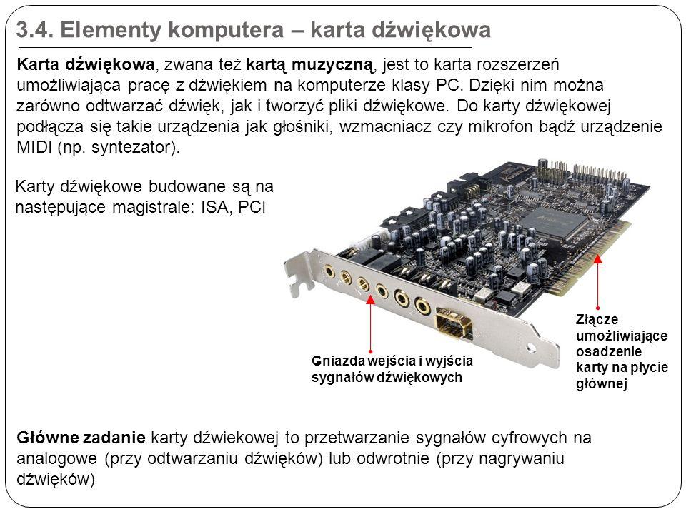 3.4. Elementy komputera – karta dźwiękowa Złącze umożliwiające osadzenie karty na płycie głównej Gniazda wejścia i wyjścia sygnałów dźwiękowych Karta
