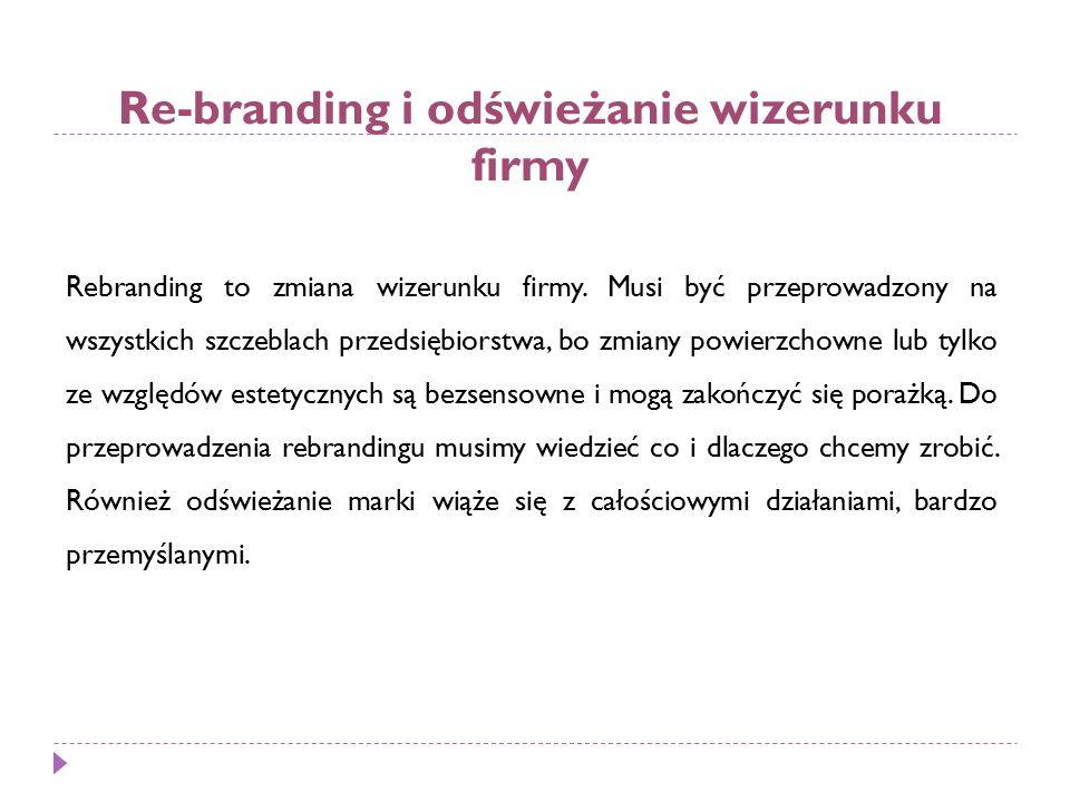 Re-branding i odświeżanie wizerunku firmy Rebranding to zmiana wizerunku firmy.