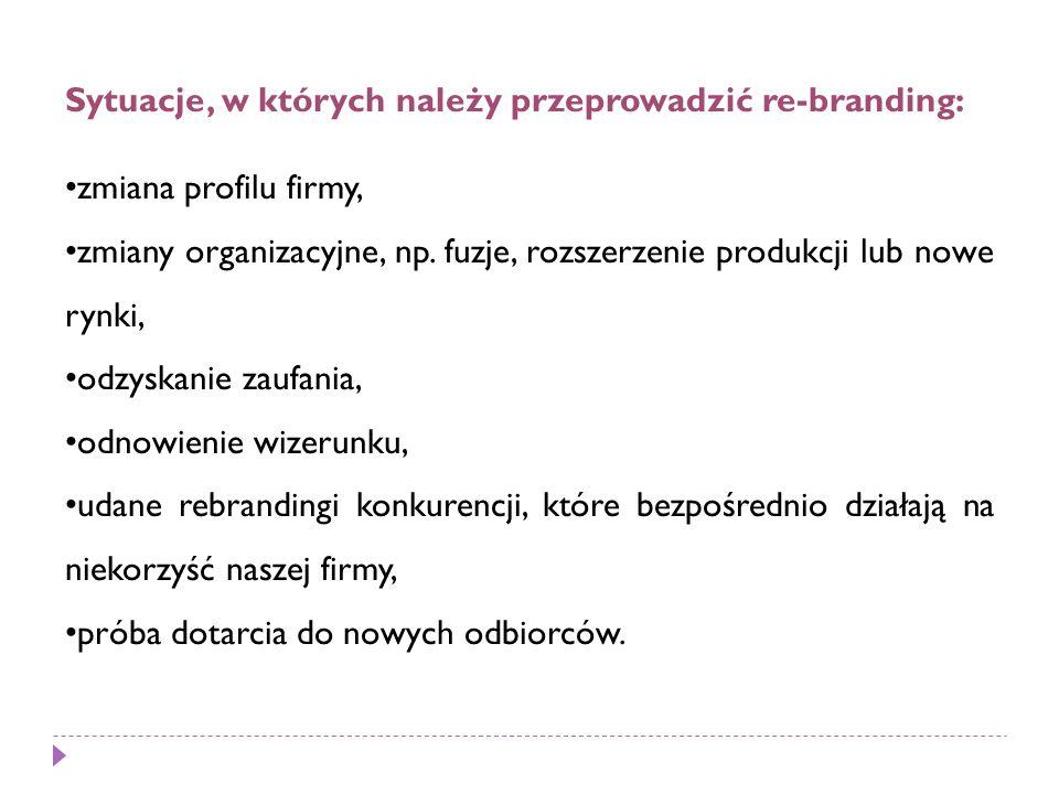 Sytuacje, w których należy przeprowadzić re-branding: zmiana profilu firmy, zmiany organizacyjne, np.