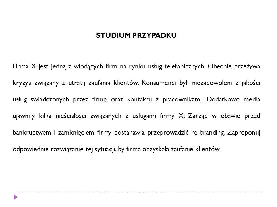STUDIUM PRZYPADKU Firma X jest jedną z wiodących firm na rynku usług telefonicznych.