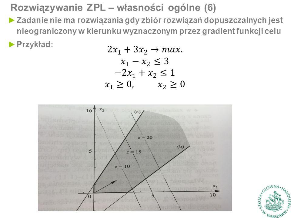 Rozwiązywanie ZPL – własności ogólne (6) ►Zadanie nie ma rozwiązania gdy zbiór rozwiązań dopuszczalnych jest nieograniczony w kierunku wyznaczonym prz