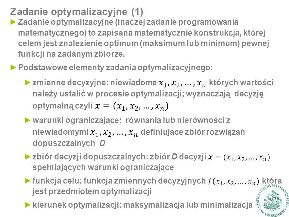 Zadanie optymalizacyjne (1)