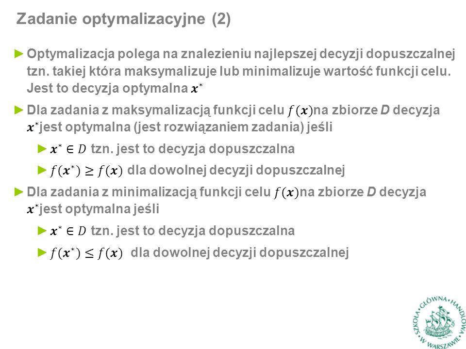 Zadanie optymalizacyjne (2)