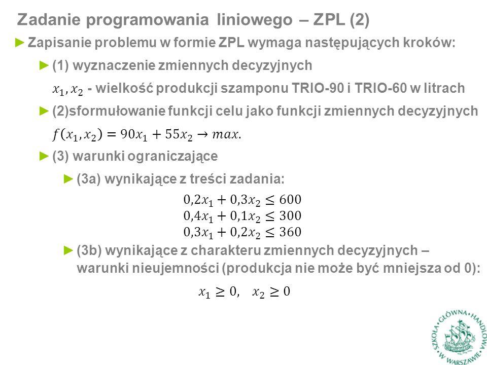 Zadanie programowania liniowego – ZPL (2)