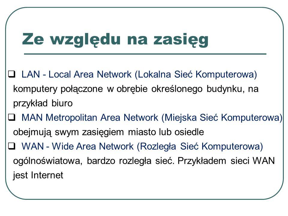 Ze względu na zasięg  LAN - Local Area Network (Lokalna Sieć Komputerowa) komputery połączone w obrębie określonego budynku, na przykład biuro  MAN Metropolitan Area Network (Miejska Sieć Komputerowa) obejmują swym zasięgiem miasto lub osiedle  WAN - Wide Area Network (Rozległa Sieć Komputerowa) ogólnoświatowa, bardzo rozległa sieć.