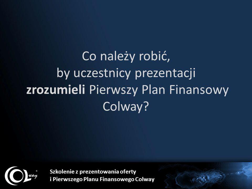 Co należy robić, by uczestnicy prezentacji zrozumieli Pierwszy Plan Finansowy Colway? Szkolenie z prezentowania oferty i Pierwszego Planu Finansowego