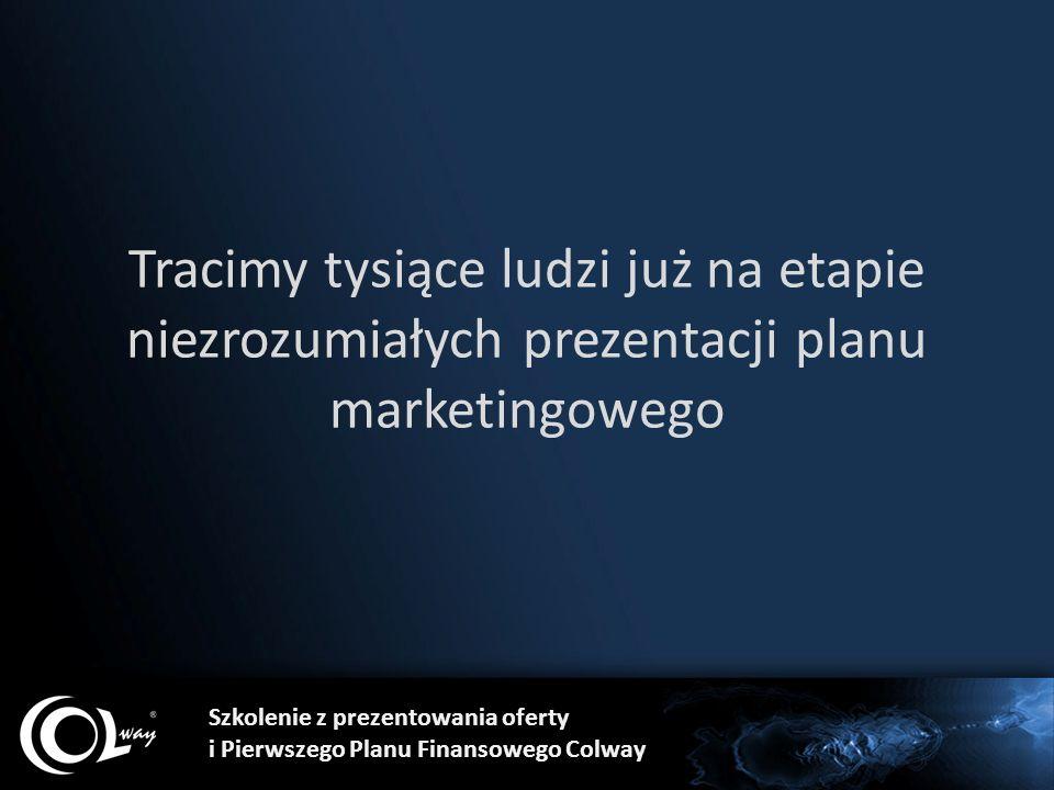 Tracimy tysiące ludzi już na etapie niezrozumiałych prezentacji planu marketingowego Szkolenie z prezentowania oferty i Pierwszego Planu Finansowego C