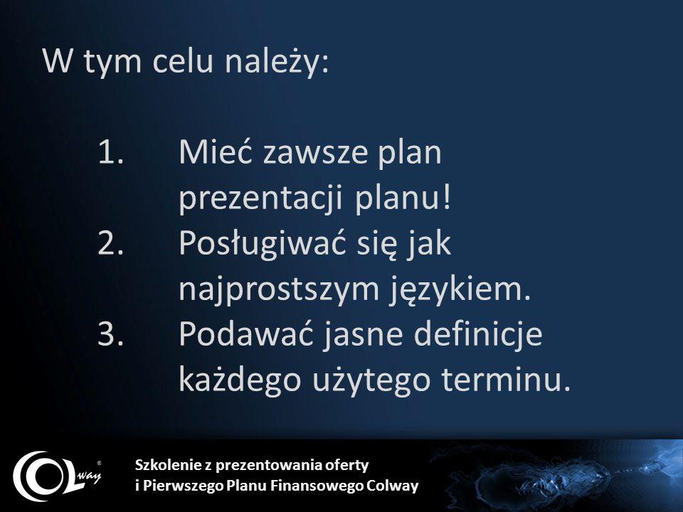 W tym celu należy: 1.Mieć zawsze plan prezentacji planu! 2.Posługiwać się jak najprostszym językiem. 3.Podawać jasne definicje każdego użytego terminu