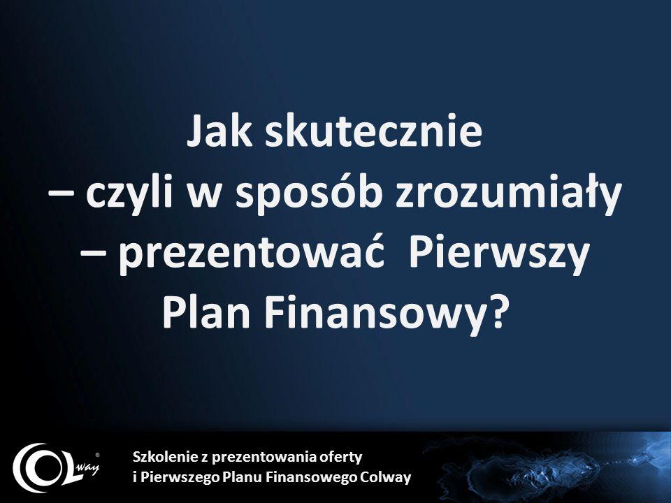 Cel szkoleniowy pierwszej części: Nabycie wiedzy na temat zasad skutecznej prezentacji Pierwszego Planu Finansowego Colway.
