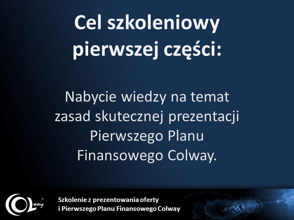Cel szkoleniowy pierwszej części: Nabycie wiedzy na temat zasad skutecznej prezentacji Pierwszego Planu Finansowego Colway. Szkolenie z prezentowania