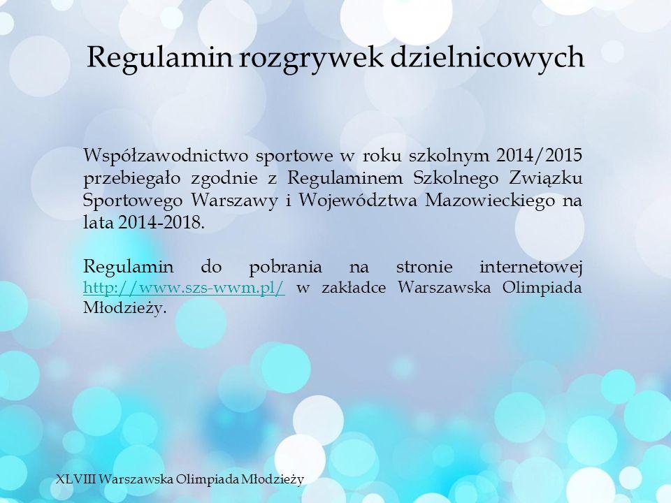 Współzawodnictwo sportowe w roku szkolnym 2014/2015 przebiegało zgodnie z Regulaminem Szkolnego Związku Sportowego Warszawy i Województwa Mazowieckiego na lata 2014-2018.