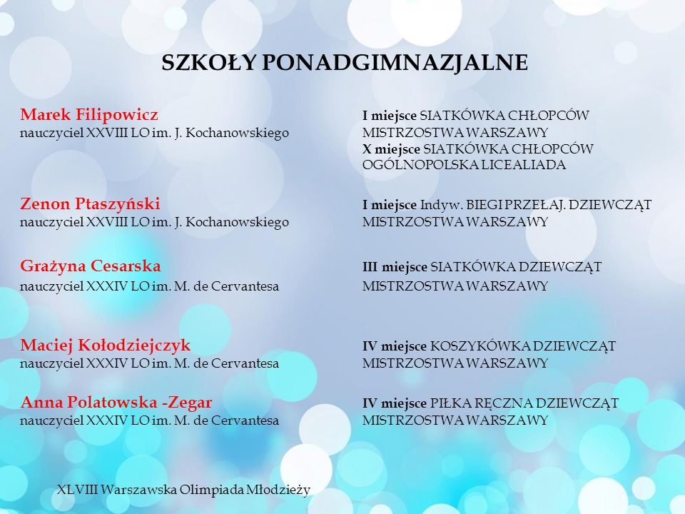 Marek Filipowicz I miejsce SIATKÓWKA CHŁOPCÓW nauczyciel XXVIII LO im.