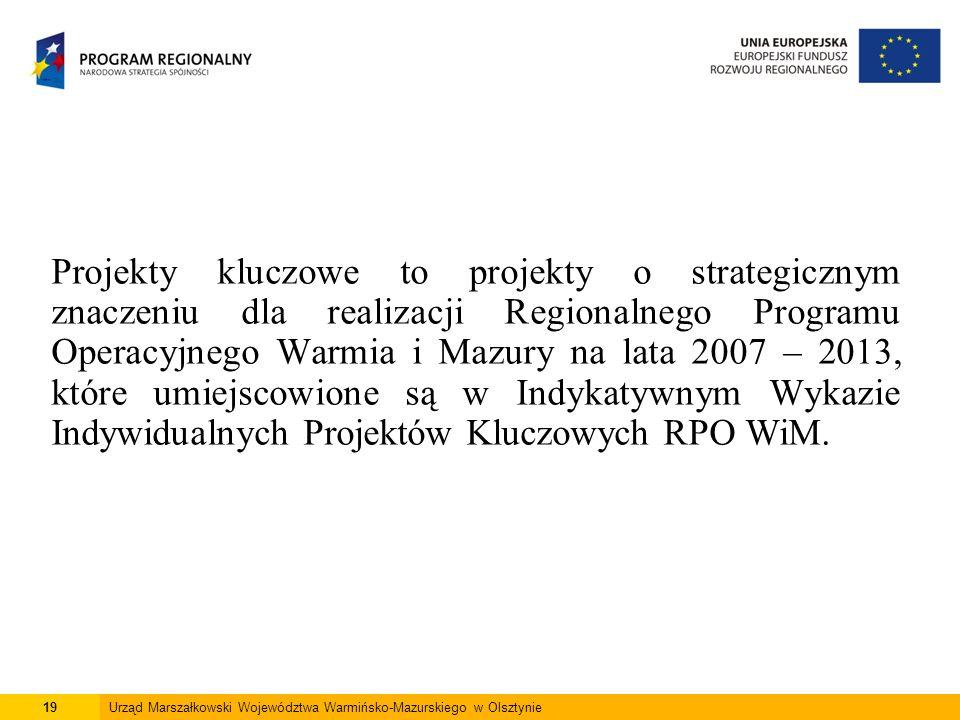 19Urząd Marszałkowski Województwa Warmińsko-Mazurskiego w Olsztynie Projekty kluczowe to projekty o strategicznym znaczeniu dla realizacji Regionalneg