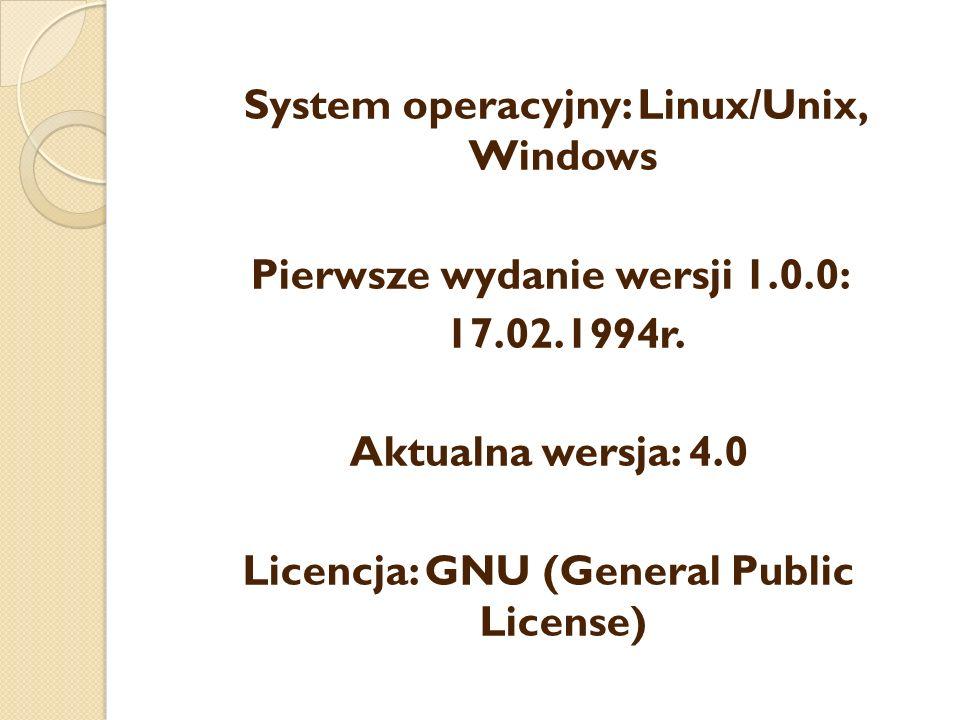 System operacyjny: Linux/Unix, Windows Pierwsze wydanie wersji 1.0.0: 17.02.1994r.