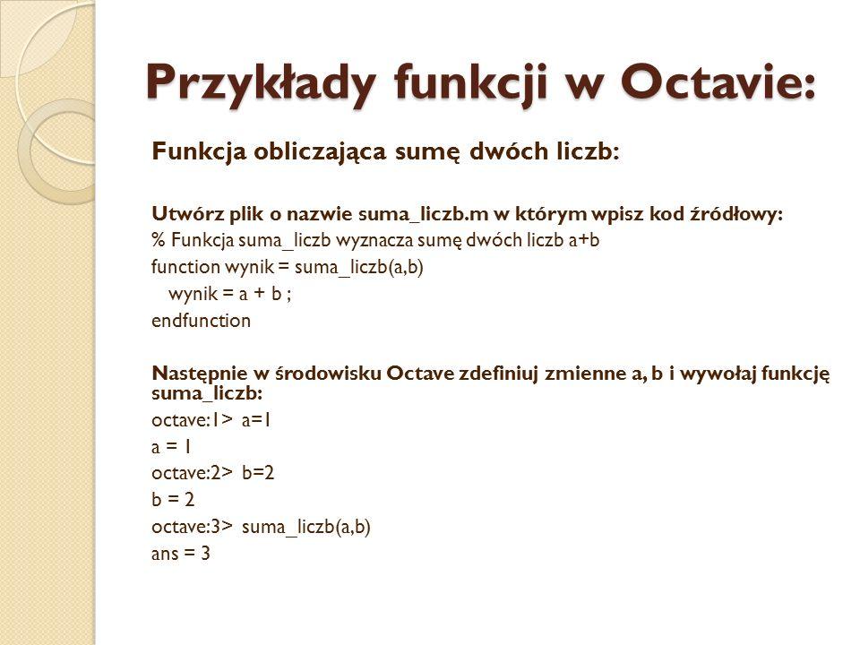 Przykłady funkcji w Octavie: Funkcja obliczająca sumę dwóch liczb: Utwórz plik o nazwie suma_liczb.m w którym wpisz kod źródłowy: % Funkcja suma_liczb wyznacza sumę dwóch liczb a+b function wynik = suma_liczb(a,b) wynik = a + b ; endfunction Następnie w środowisku Octave zdefiniuj zmienne a, b i wywołaj funkcję suma_liczb: octave:1> a=1 a = 1 octave:2> b=2 b = 2 octave:3> suma_liczb(a,b) ans = 3