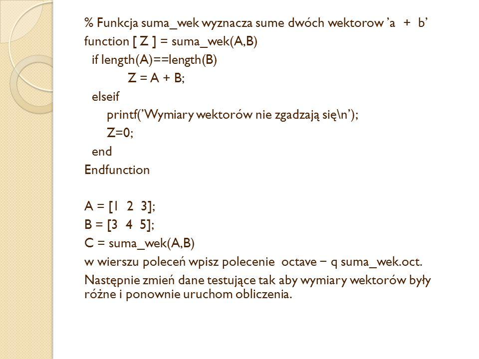 % Funkcja suma_wek wyznacza sume dwóch wektorow 'a + b' function [ Z ] = suma_wek(A,B) if length(A)==length(B) Z = A + B; elseif printf('Wymiary wektorów nie zgadzają się\n'); Z=0; end Endfunction A = [1 2 3]; B = [3 4 5]; C = suma_wek(A,B) w wierszu poleceń wpisz polecenie octave − q suma_wek.oct.