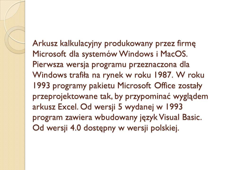Arkusz kalkulacyjny produkowany przez firmę Microsoft dla systemów Windows i MacOS.