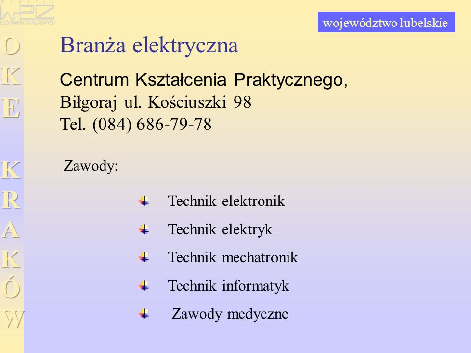 Branża elektryczna Centrum Kształcenia Praktycznego, Biłgoraj ul. Kościuszki 98 Tel. (084) 686-79-78 Technik elektronik Technik elektryk Technik mecha