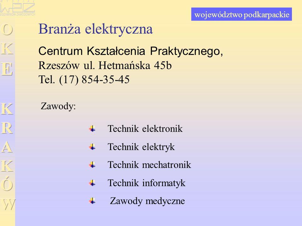 Branża elektryczna Centrum Kształcenia Praktycznego, Rzeszów ul. Hetmańska 45b Tel. (17) 854-35-45 Technik elektronik Technik elektryk Technik mechatr