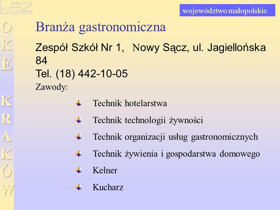 Branża gastronomiczna Zespół Szkół Nr 1, Nowy Sącz, ul. Jagiellońska 84 Tel. (18) 442-10-05 Technik hotelarstwa Technik technologii żywności Technik o